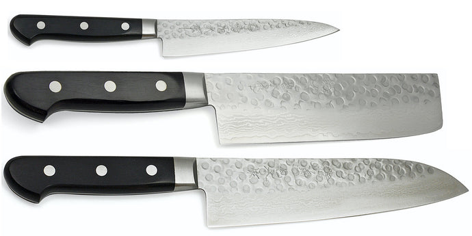 WGAD Series Elite Warikomi Damascus Tsuchime Knife Set