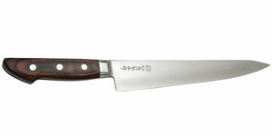 Kikuichi Cutlery Elite Warikomi Gold (WG Series) Sujihiki. Slicing knife made of VG1 stainless steel. Available in sizes 21 cm, 24 cm, and 27 cm.