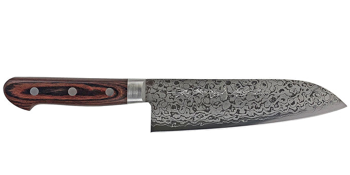 Kikuichi Cutlery Elite Warikomi Gold Damascus (WGD Series) Santoku. All purpose knife made with VG10 stainless steel. Available in 17 cm.