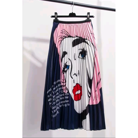 Monroe Pink Pleated Face Midi Skirt