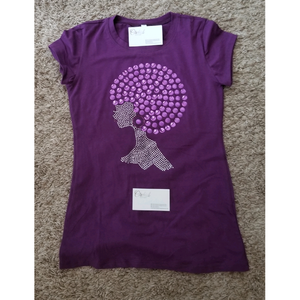 Afro Chic Purple Nail Head Tee