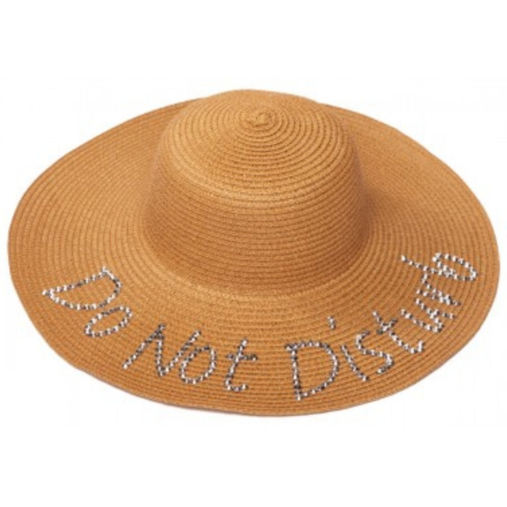 Do Not Disturb Embellished Straw Hat