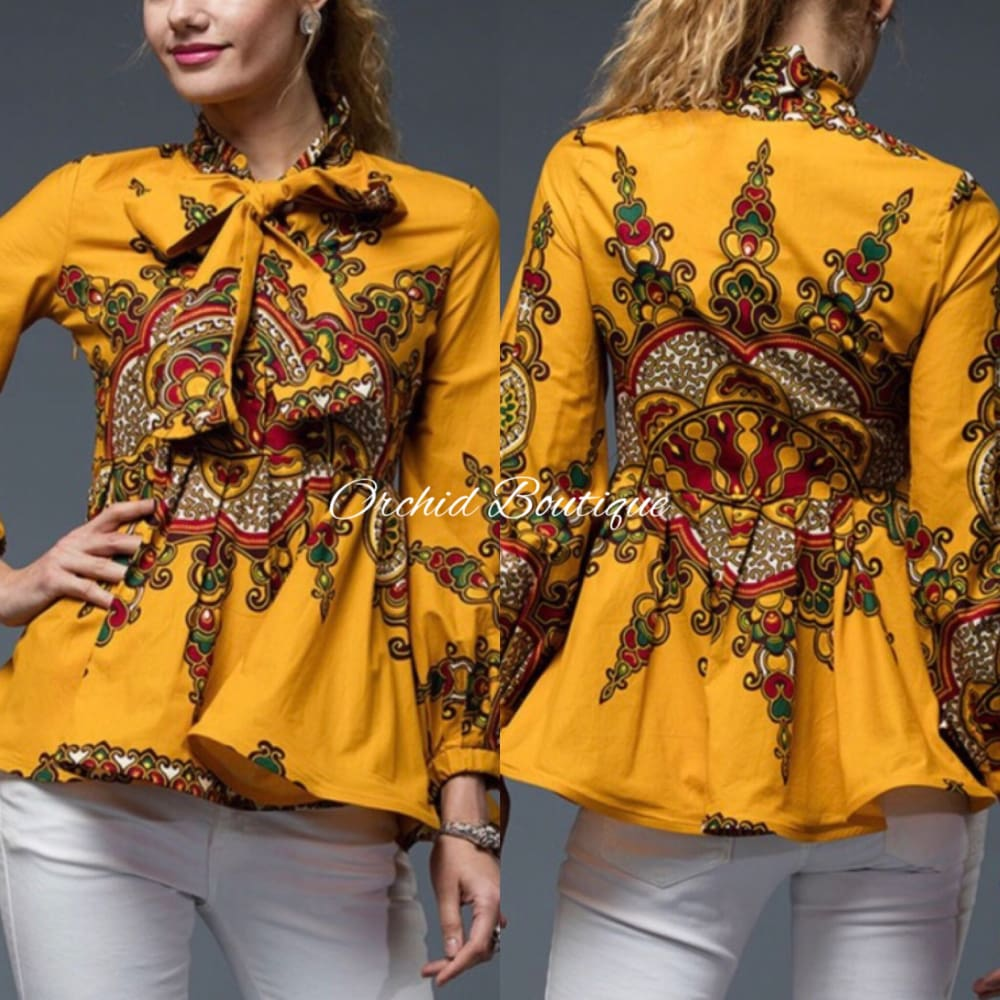 Abeni African Print Mustard Blouse - Orchid Boutique