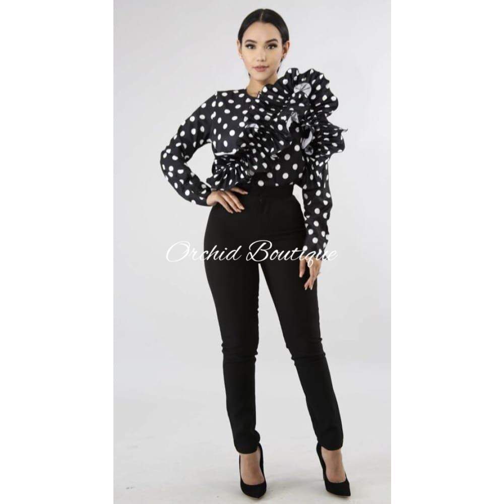 Adrian Black Polka Dot Ruffle Blouse - Orchid Boutique