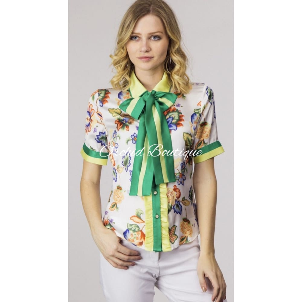 Alexis Green Multi Bow Shirt - Orchid Boutique