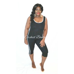 Amanda Black Atleisure Romper - Orchid Boutique
