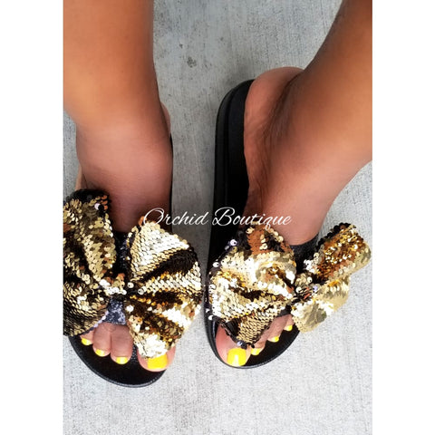 Anita Gold Bow Sequin Slides - Orchid Boutique