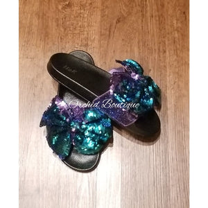 Anita Purple Bow Sequin Slides - Orchid Boutique