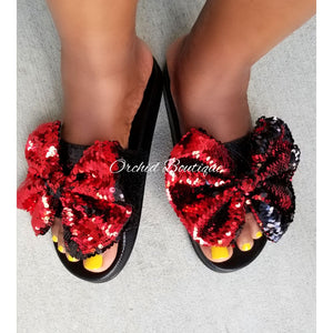 Anita Red Bow Sequin Slides - Orchid Boutique