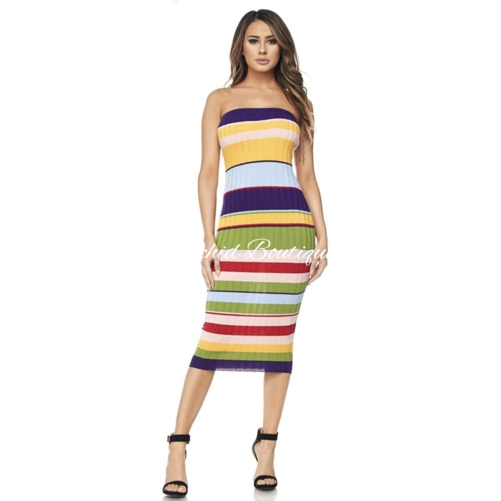 Anne Strapless Bodycon Midi Dress - Orchid Boutique