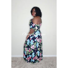 Load image into Gallery viewer, Athena Cold Shoulder Navy Floral Maxi Dress - Orchid Boutique