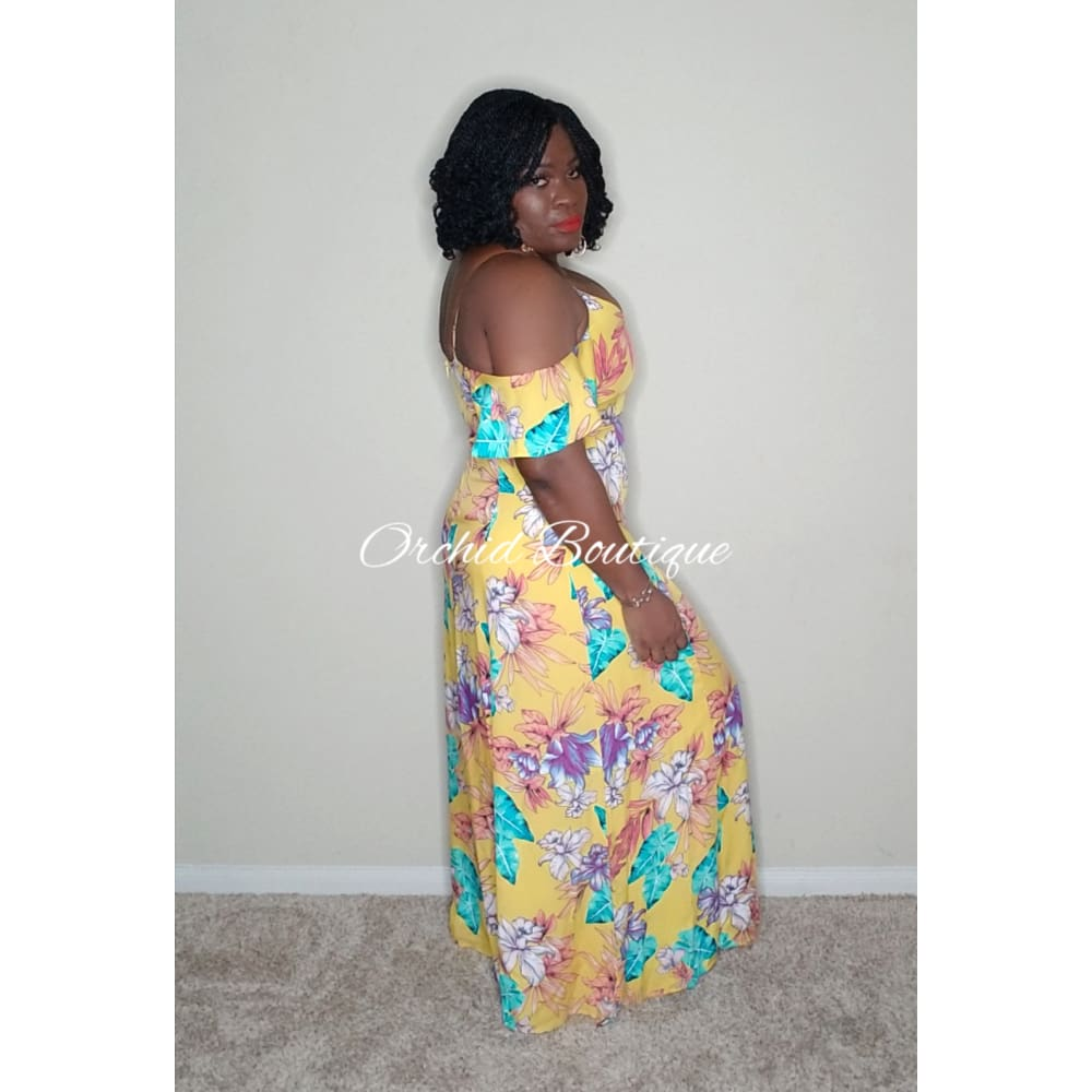 Athena Cold Shoulder Yellow Floral Maxi Dress - Orchid Boutique