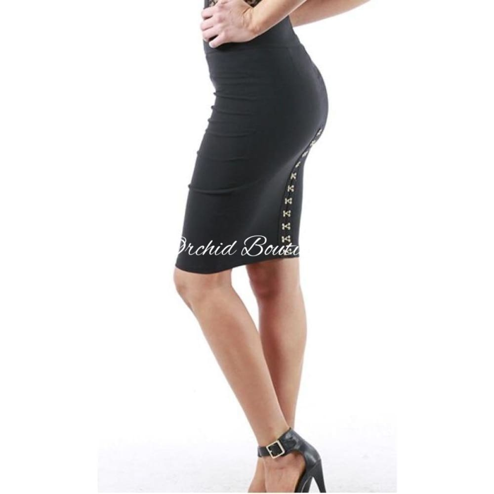 Audrey Black Hook and Eye Skirt - Orchid Boutique