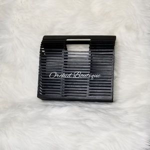 Bamboo Black Square Bag - Orchid Boutique