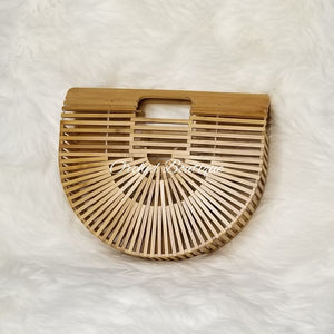 Bamboo Natural Half Moon Bag - Orchid Boutique