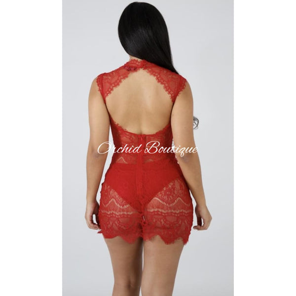 Barely Dare Red Lace Mini Dress - Orchid Boutique
