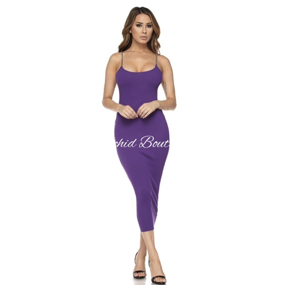 Bebe Chain Strap Purple Midi Dress - Orchid Boutique