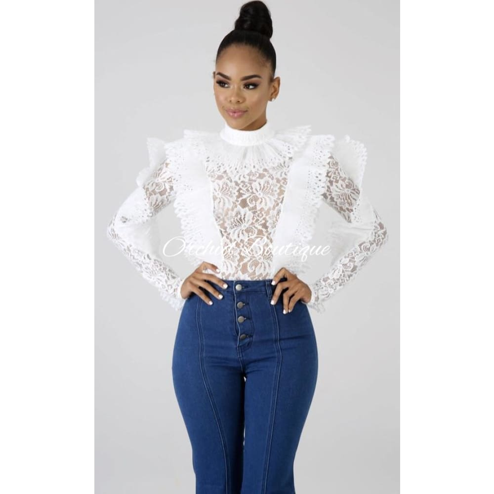 Bee Hive White Lace Bodysuit - Orchid Boutique