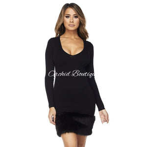 Beverly Black Faux Fur Sweater Mini Dress - Orchid Boutique