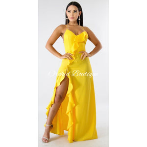 Bianca Yellow Ruffle Maxi Dress - Orchid Boutique