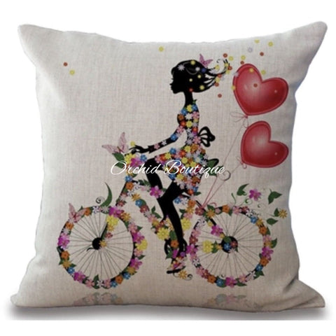 Bicycle Love Throw Pillow Cover - Orchid Boutique