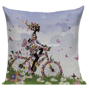 Bicycle Throw Pillow Cover - Orchid Boutique