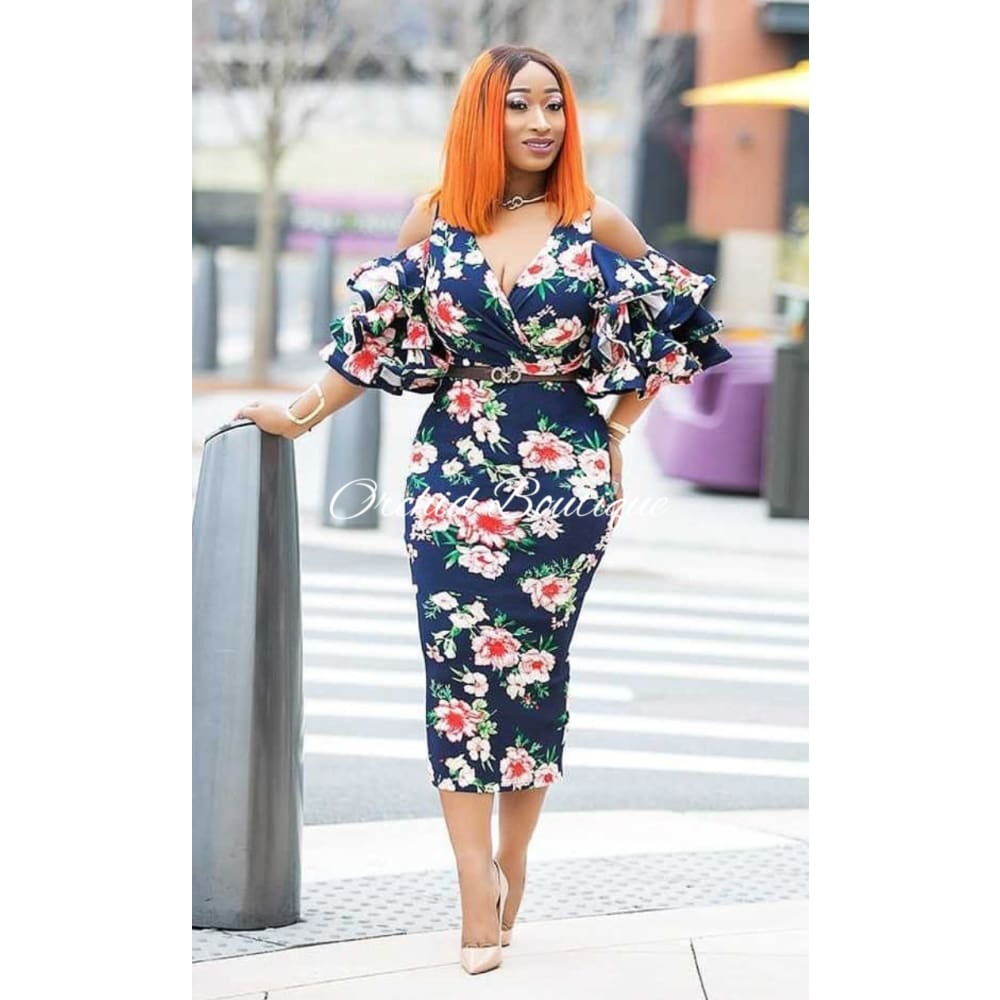 Blossom Navy Floral Ruffle Midi Dress - Orchid Boutique