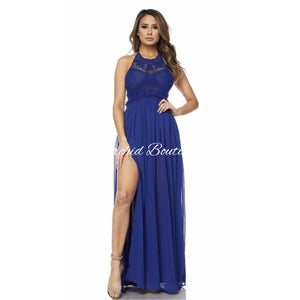 Brielle Royal Blue Crochet Maxi Dress - Orchid Boutique