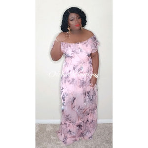 Butterfly Pink Floral Maxi Dress - Orchid Boutique