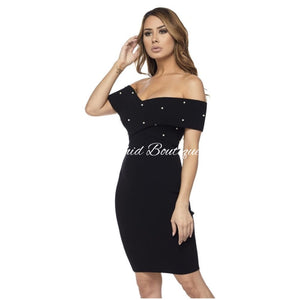 Celeste Pearl Sweater Black Mini Dress - Orchid Boutique