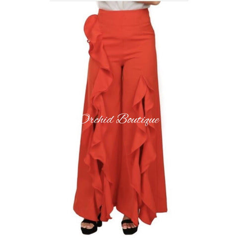 Chelsea Red Ruffle Slit Luxe Pants - Orchid Boutique