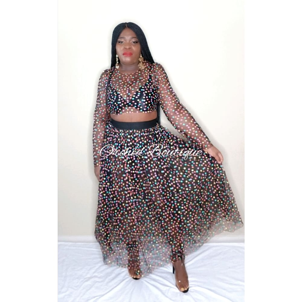China Multicolor Polka Dot Two Piece Set - Orchid Boutique