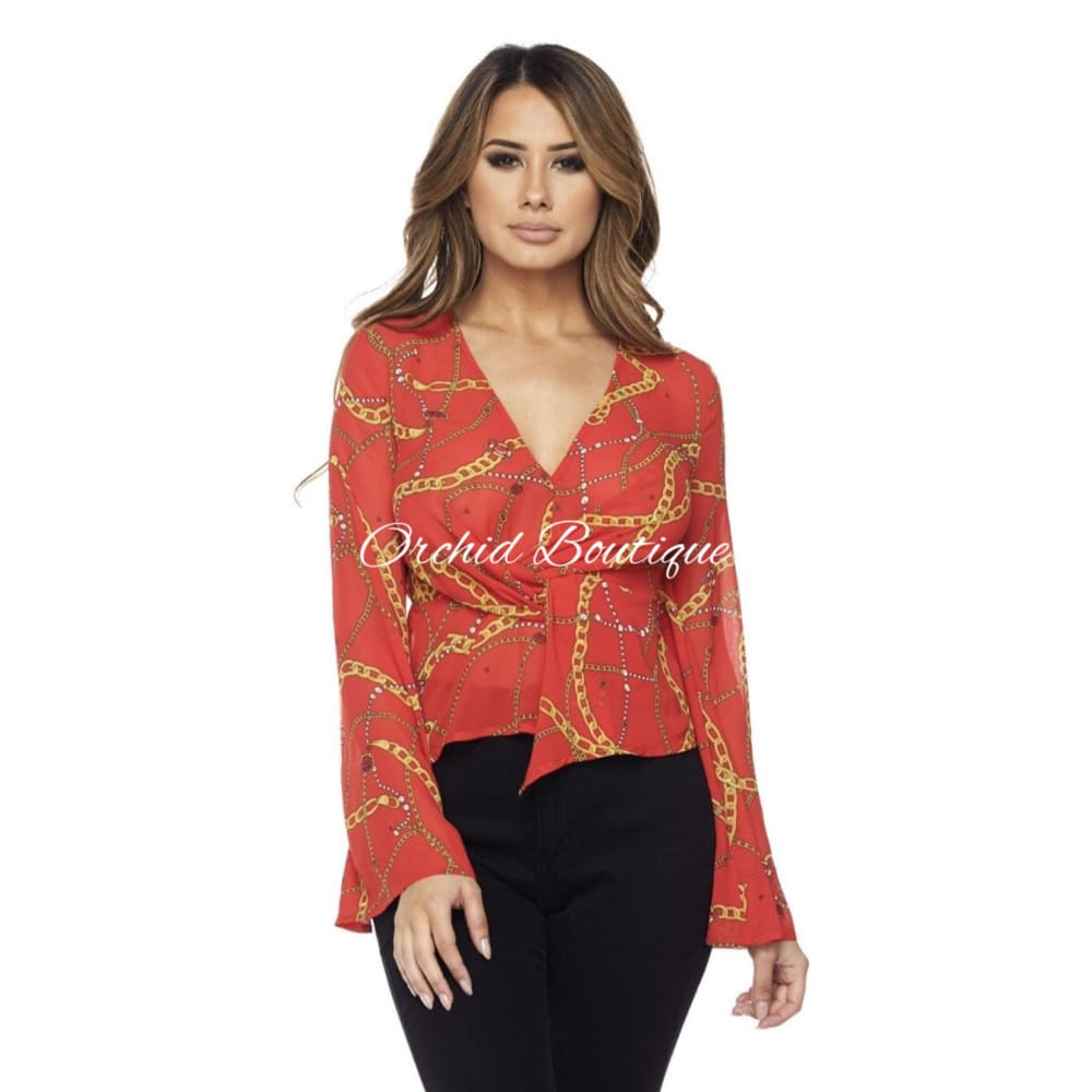 Chloe Red Chain Blouse - Orchid Boutique