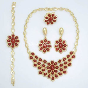 Coral Red Flower Set - Orchid Boutique