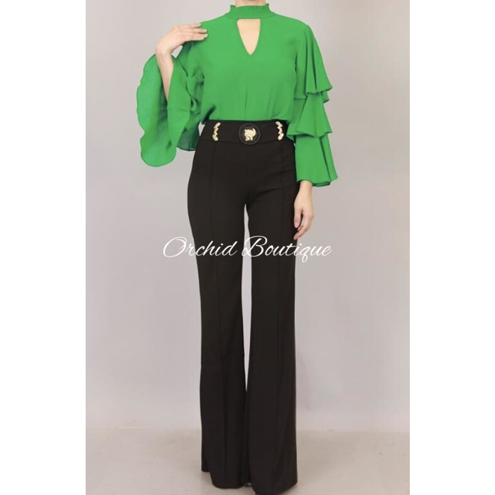Crown Black High Waist Luxe Pant - Orchid Boutique