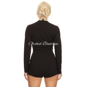 Destiny Black Sequins Romper - Orchid Boutique