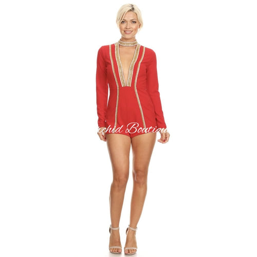 Destiny Red Sequins Romper - Orchid Boutique