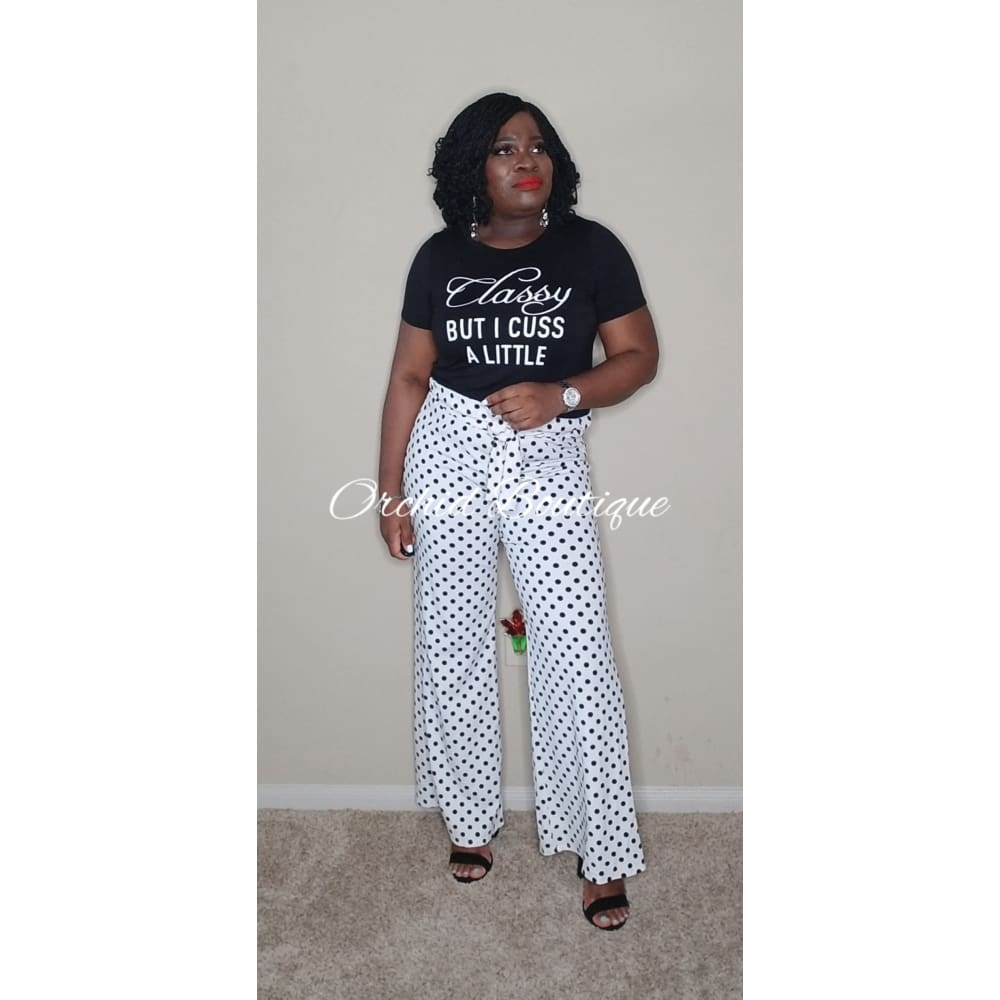 Gigi Paper Bag White Polka Pants - Orchid Boutique