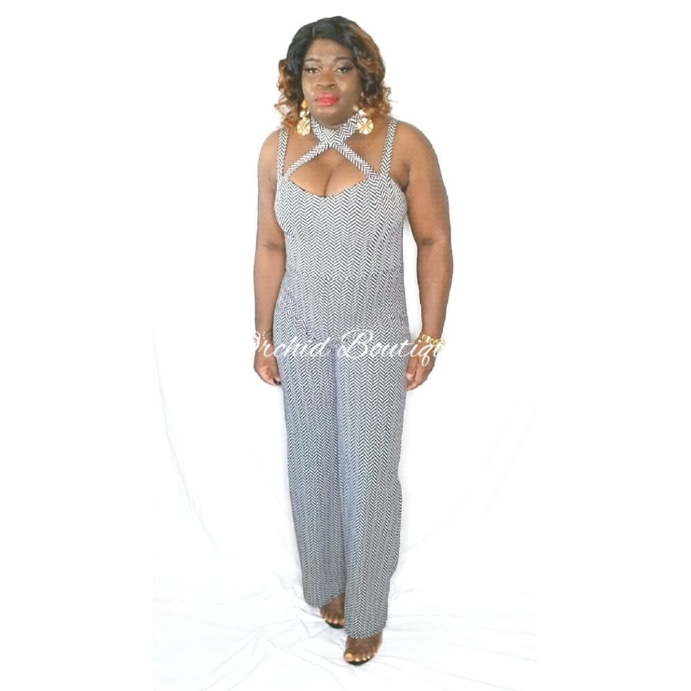 Electra Gray Stripped Jumpsuit - Orchid Boutique
