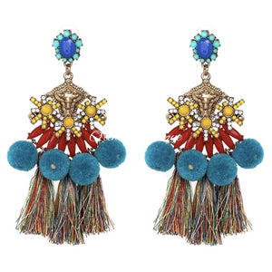 Elise Multicolor PomPom Hobo Earrings - Orchid Boutique