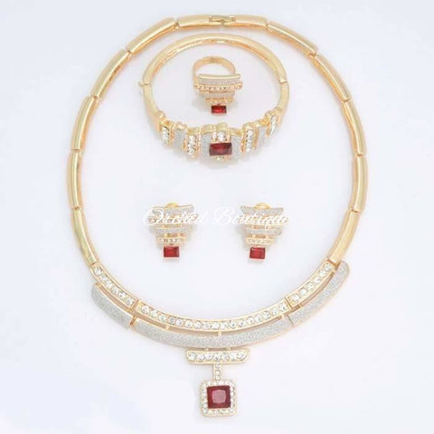 Evelyn Ruby Gemstone and Diamond Crystal Set - Orchid Boutique