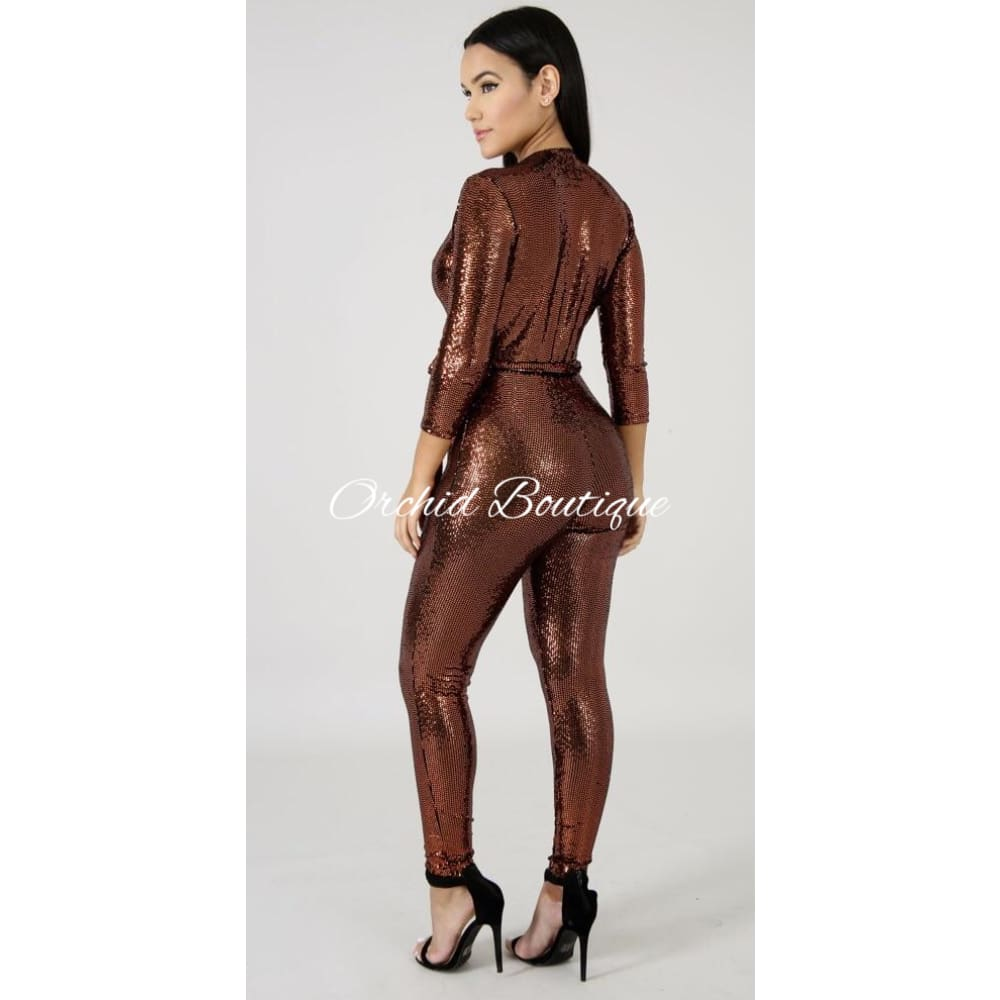 Finesse Brown Shimmer Jumpsuit - Orchid Boutique