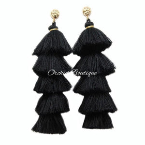 Gina Black Chandelier Earrings - Orchid Boutique