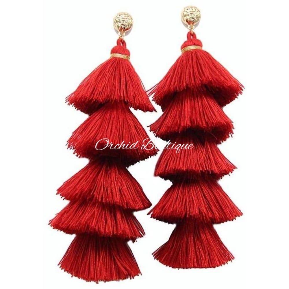 Gina Red Chandelier Earrings - Orchid Boutique