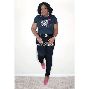 Girls Night Out Black Tee - Orchid Boutique