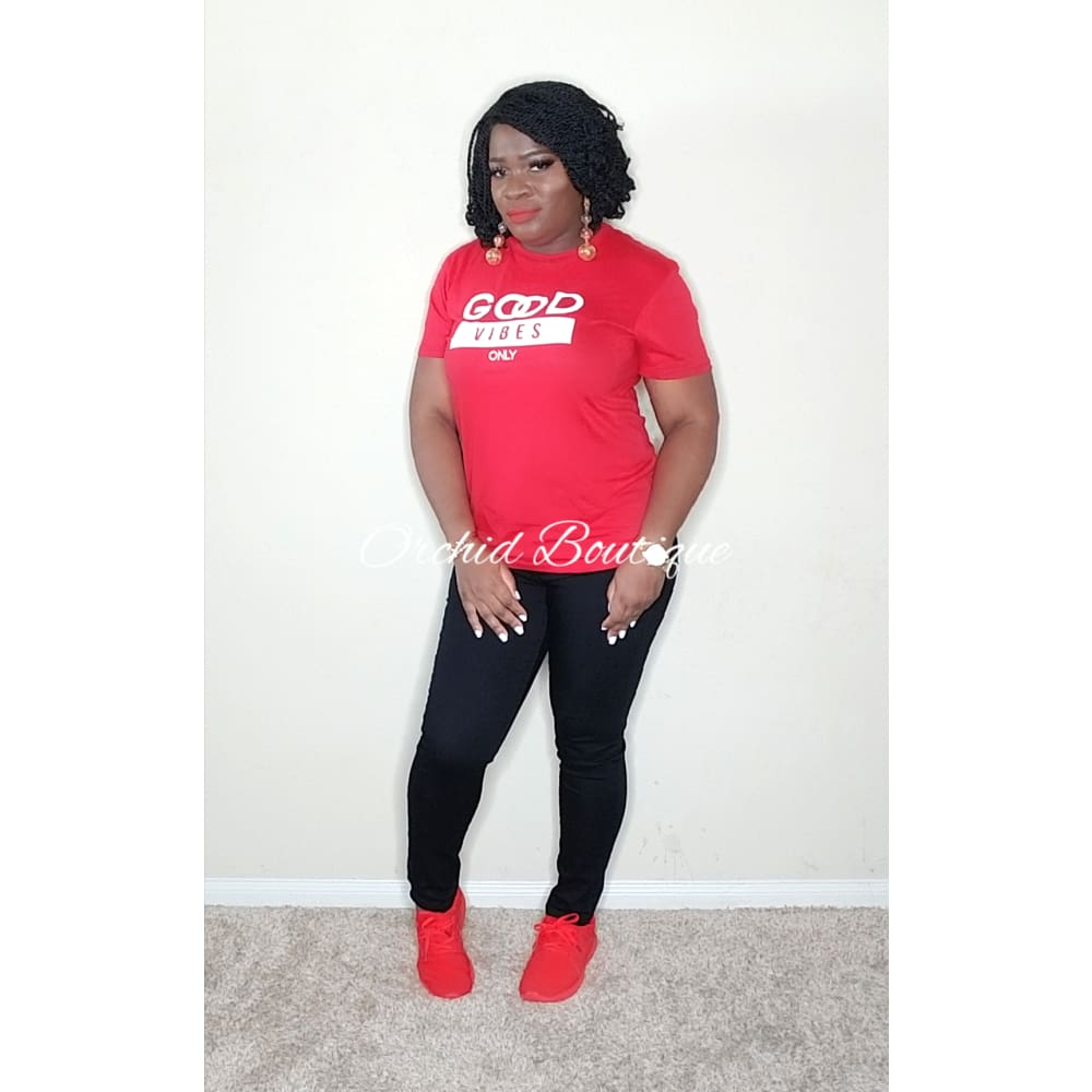 Good Vibes Red T-Shirt - Orchid Boutique