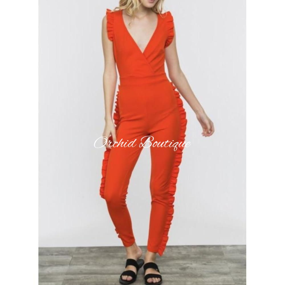 Harley Red Ruffle Jumpsuit - Orchid Boutique
