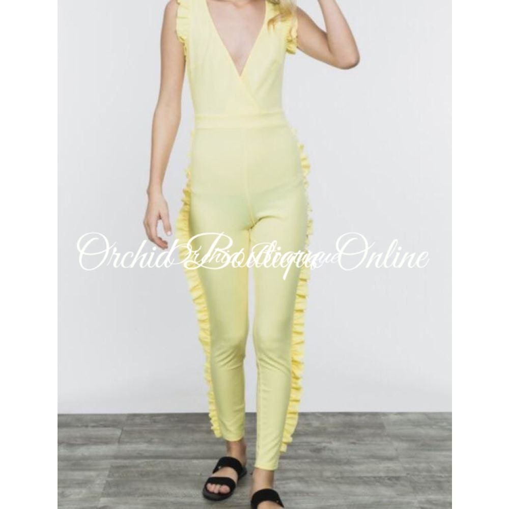 Harley Yellow Ruffle Jumpsuit - Orchid Boutique