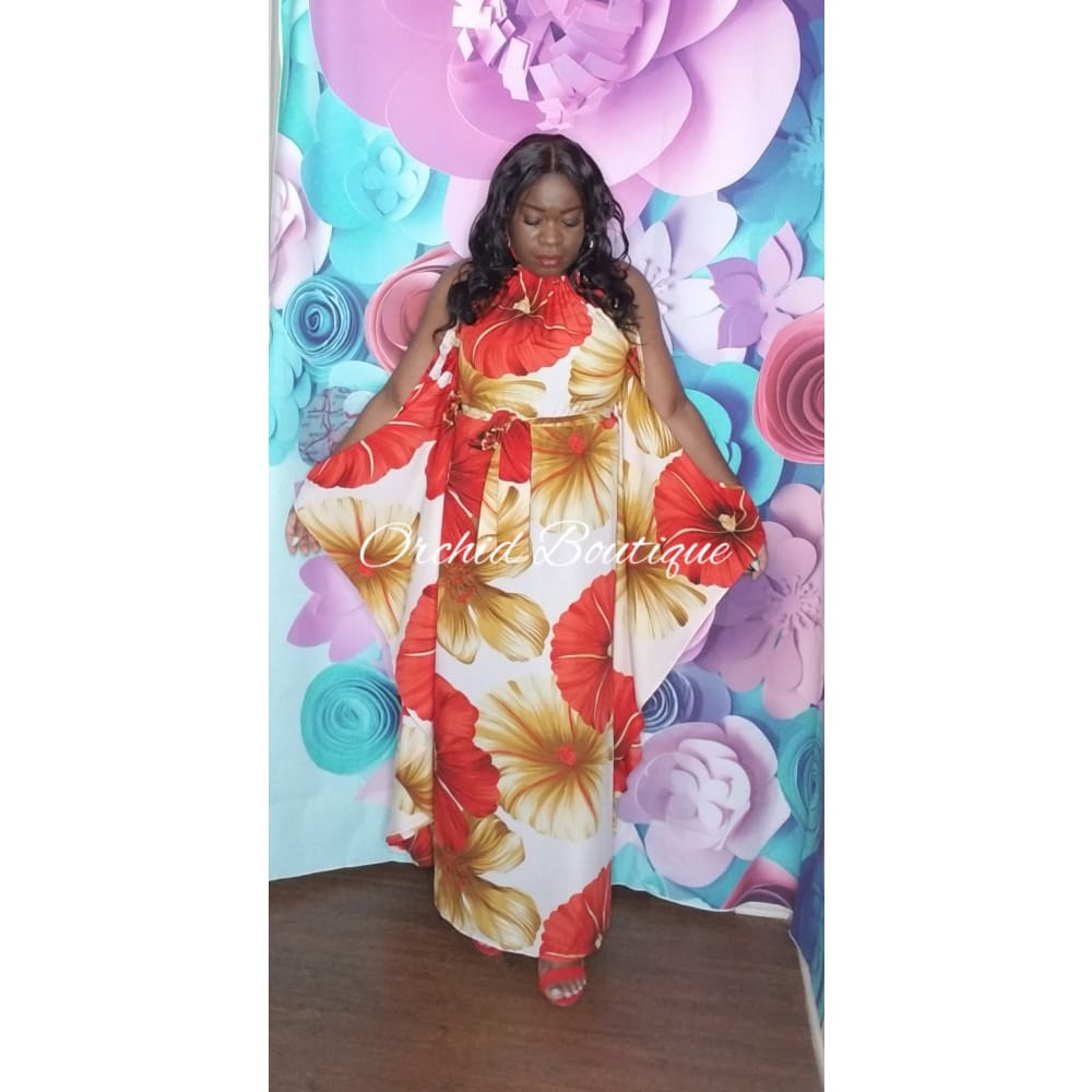 Hawaii Red Floral Maxi Dress - Orchid Boutique