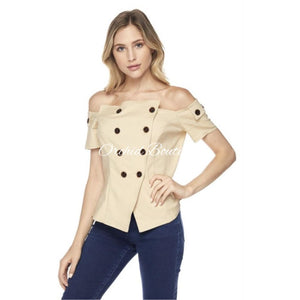 Heather Nude Button Blouse - Orchid Boutique